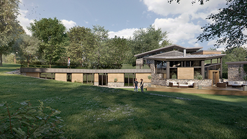 Newly built modern designed home in the countryside by architects in Berkshire, Inspiration Architects. Wooden paneled frontage with grey stone feature walls, dark grey tiles and large windows to let in light.