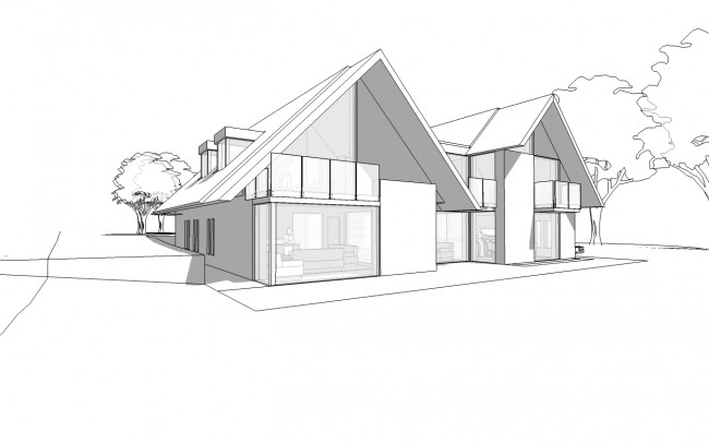 House designers, Inspiration Architects, frontage plans of use of a twin gabled form with lower level linking roof (location of the solar panel farm) has created a built form redolent of local architectural language yet of obviously contemporary design.