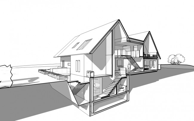 House designers, Inspiration Architects, room plans, of use of a twin gabled form with lower level linking roof (location of the solar panel farm) has created a built form redolent of local architectural language yet of obviously contemporary design.