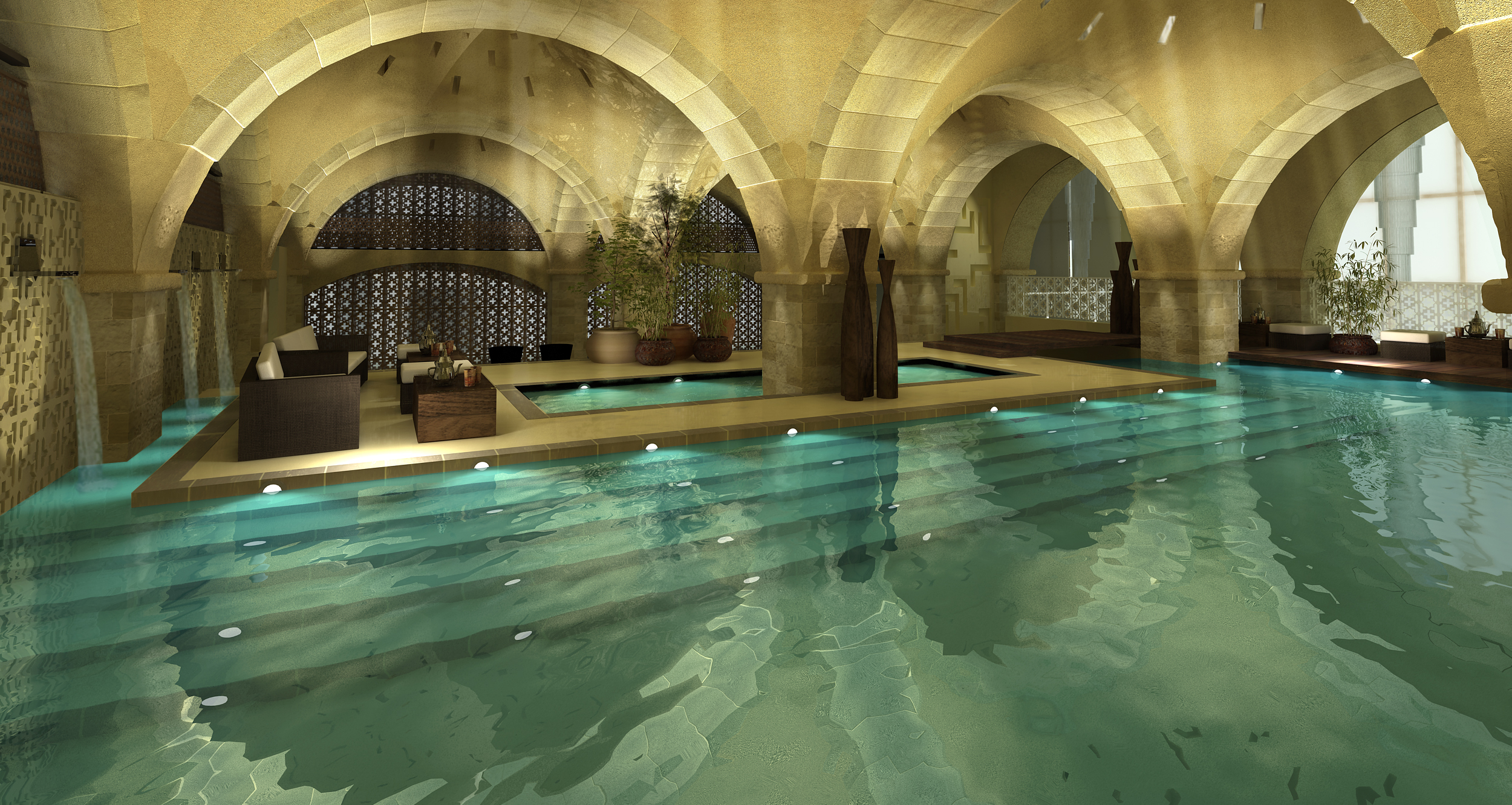 Inspiration Architects, architecture firm in Newbury, designed Turkish baths all arranged around a central dramatic pool space designed to allude to ancient Roman baths