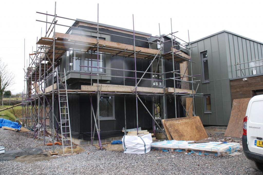 Residential architect Inspiration Architects Inspiration were asked to design a new contemporary style home in the extensive grounds of the clients' existing house. In this image the build is partway through completion.
