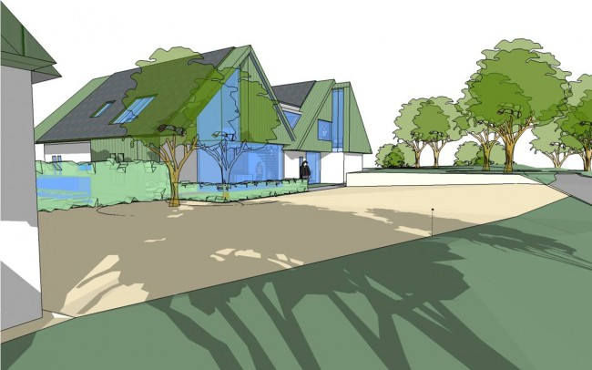 House designers, Inspiration Architects, driveway plans, of use of a twin gabled form with lower level linking roof (location of the solar panel farm) has created a built form redolent of local architectural language yet of obviously contemporary design.