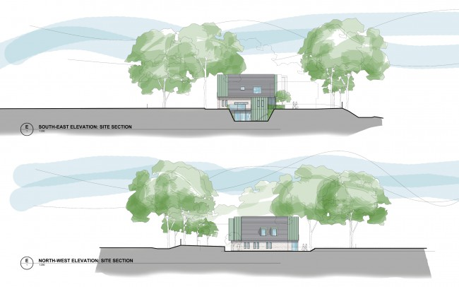 House designers, Inspiration Architects, elevation plans of use of a twin gabled form with lower level linking roof (location of the solar panel farm) has created a built form redolent of local architectural language yet of obviously contemporary design.