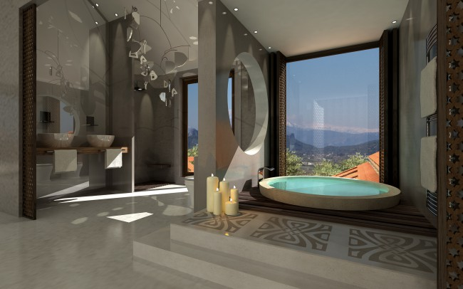 Award winning architectural house plans by Inspiration Architects. Bathroom with very modern circular inset bath tub, with marble floor, and large full height windows showing the beautiful hills.