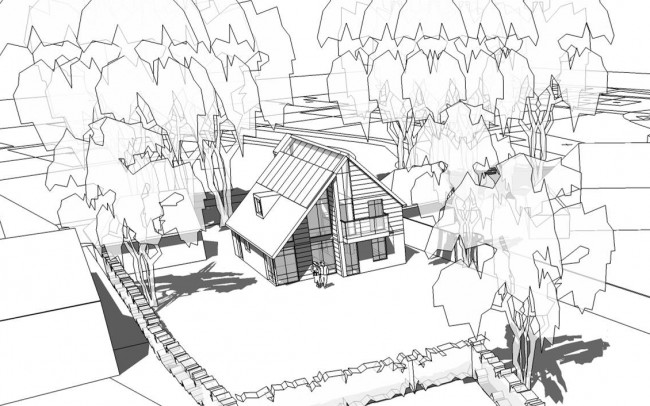 Inspiration Architects in Hampshire, new build eco home exterior concept artwork