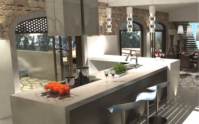 Award winning architectural house plans by Inspiration Architects. Kitchen area, large work surfaces, clean and open plan design.
