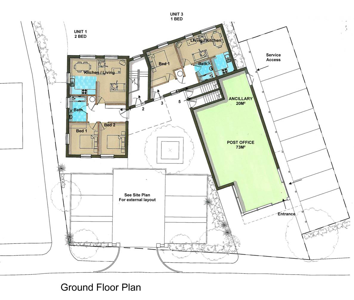 Ground floor plan for Community mixed development in Bradfield, Reading. New home plans and architectural design by Inspiration Architects.