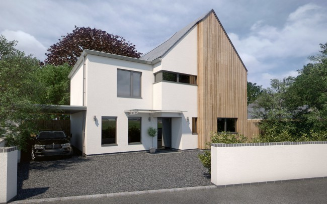 RIBA Chartered Architects in Newbury, designing modern homes in the Berkshire, Oxfordshire and Hampshire area. Modern white home with partial wooden frontage. Grey gravel drive with white wall surrounding the property.
