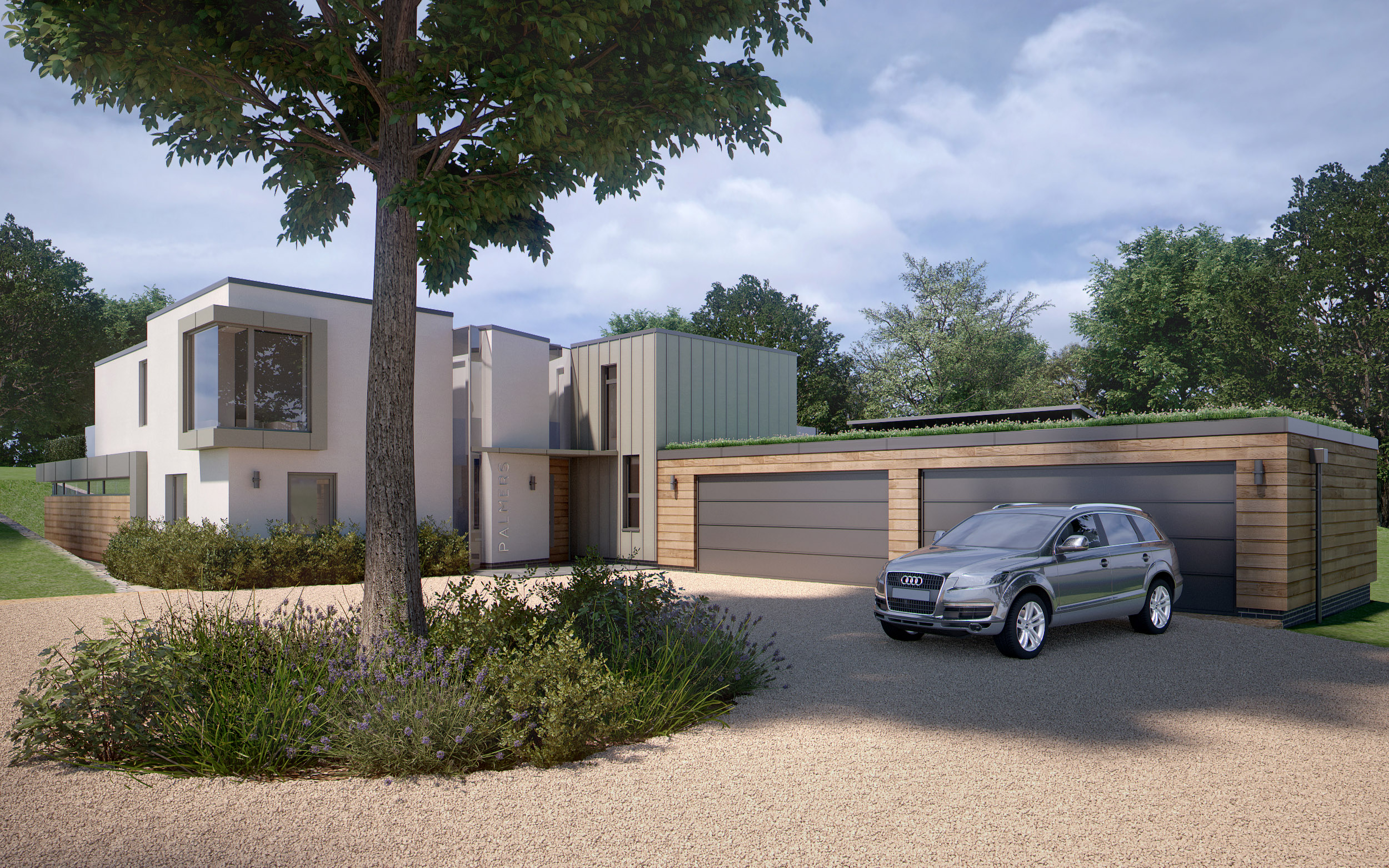 Residential architect Inspiration Architects Inspiration were asked to design a new contemporary style home in the extensive grounds of the clients' existing house. Front of completed property.