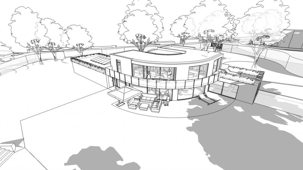 Residential architect Inspiration Architects  Inspiration were asked to design a new contemporary style home in the extensive grounds of the clients' existing house. Concept art of design.